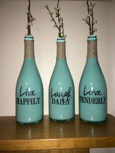 Decorative Bottles :     Live laugh love Wine bottle champagne bottle vases Crafts    -Read More –   - #DecorativeBottles