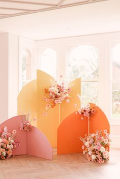The Nobles Photography - A colorful, flower-filled spring editorial in shades of ochre, orange, and pink - 100 Layer Cake Ceremony Backdrop, Ceremony Decorations, Backdrop Wedding, Backdrop Ideas, Floral Wedding, Diy Wedding, Dream Wedding, Wedding Aisles, Wedding Ceremonies
