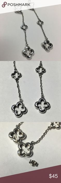 Heidi Klum Three Clover Sterling Earrings HEIDI KLUM COLLECTION- These 925 sterling silver earrings from Klum's signature clover line have been discontinued. Features three gleaming four leaf clovers and push back posts. Very good preowned condition; just needs some polishing.  Klum often wore her clover jewelry on Project Runway.  Don't miss out! Pieces from Klum's clover line are rare and increasingly hard to find. Heidi Klum Jewelry Earrings