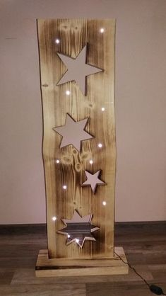 Decorative objects - wooden board with stars + LED lighting - a designer piece by F . Decorative objects – wooden board with stars + LED lighting – a unique product by FILZ_HOLZ_und Christmas Wood Crafts, Christmas Projects, Holiday Crafts, Christmas Crafts, Christmas Decorations, Xmas, Wooden Projects, Wooden Crafts, Diy And Crafts