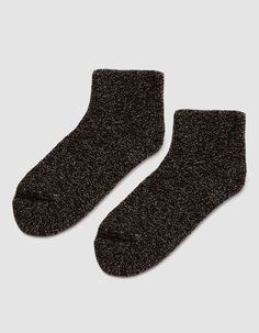 bde4062fcee Plush ankle socks from Baserange in Dark Brown. Looped stretch knit.  Structured toe and