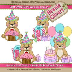LiL Bears Birthday Pink Clipart Digital Download by MaddieZee, $1.50