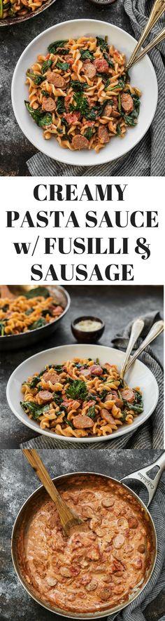 Creamy Pasta Sauce Recipe with Fusilli & Sausage via /thedealmatch/