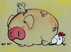 cute pig and friends illustration