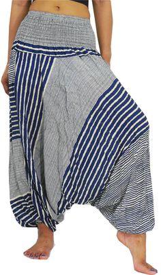 Unisex Boho Pants Hippie Peacock Pants Baggy Jumpsuit by NaLuck