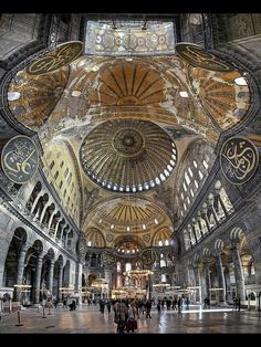 Traveling - Monuments - Architecture - Interior Design -The breathtaking interior of the Hagia Sophia, Istanbul, Turkey. Hagia Sophia is a former Greek Orthodox patriarchal basilica, later an imperial mosque, and now a museum. Islamic Architecture, Historical Architecture, Beautiful Architecture, Beautiful Buildings, Art And Architecture, Beautiful Mosques, Beautiful Places, Amazing Places, Hagia Sophia Istanbul