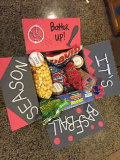 Baseball care package more gift ideas baseball gift basket, baseball boyfri College Boyfriend Gifts, Baseball Boyfriend Gifts, Baseball Gift Basket, Diy Gifts For Boyfriend, Birthday Gifts For Boyfriend, Baseball Boys, Care Package For Boyfriend, Softball, Funny Baseball