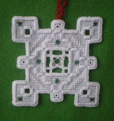Hardanger Holiday Ornament     Snowflake by MnMom23 on Etsy
