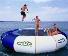 Um yeah... Floating Trampoline. This is a total necessity when I have my own lake house!!