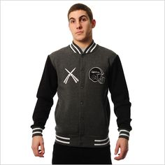 Criminal Damage Sweater - Destroy Varsity (Charcoal)