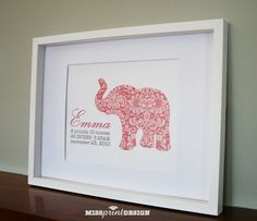 Elephant Baby Nursery Art, Personalized, Baby Shower Gift 8x10 || missprintdesign on etsy