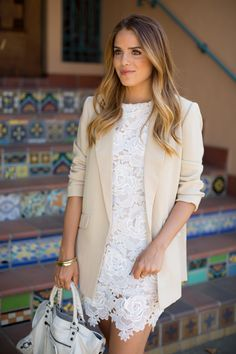 Love the juxtaposition of the delicate lace dress and the oversized menswear blazer. Excellent combo!