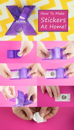How to make stickers at home. This awesome and super cheap little tool lets you make a sticker from just about anything that will fit through it! #crafts #diy #stickers