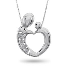 Sterling Silver, Diamond Accent Mother/Child Necklace