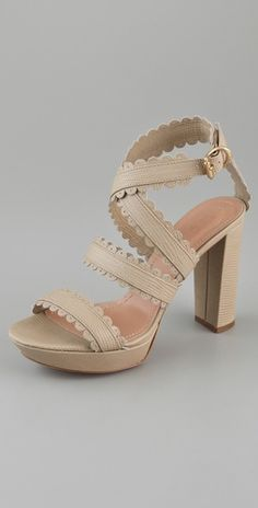 Chloe Scallop Ankle Wrap Sandals