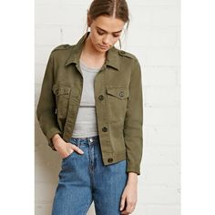 Forever 21 Women's  Boxy Utility Jacket ($33) ❤ liked on Polyvore featuring outerwear, jackets, forever 21, brown jacket, brown cotton jacket, cotton utility jacket and button jacket