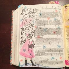 Illustrated faith bible art journaling Matthew 5:45. And he sends rain on the just and the unjust....