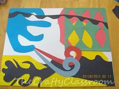 """Artist: Henri Matisse   Project: Construction Paper Collage...Layer various cut-out pieces of bright construction...also teaches them how to use the """"negative"""" of their cut-outs..."""