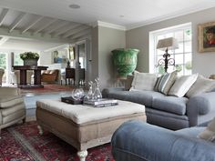 Family room combining great texture & scale - Ham Interiors