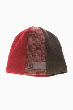 Jennifer Fukushima - burgundy grain recycled wool hat-organic cotton-tuque-vintage button-ornamental strap
