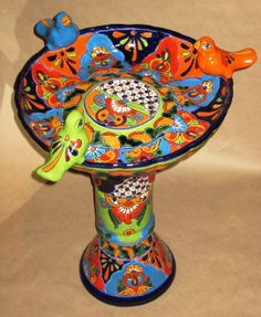 Talavera Bird Baths by Artesanos....love these Mexican pottery bird baths.....