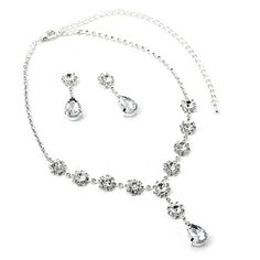 CSG Stainless steel Exquisite Crystal Square and Round Necklace with Dangling Exquisite Crystal Dangle Earrings Jewelry Set *** Visit the image link more details.