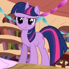 Size: 500x500 | Tagged: animated, caption, cropped, edit, edited screencap, female, golden oaks library, happy, horses doing horse things, magic, mare, pawing the ground, pony, raised hoof, safe, screencap, secret of my excess, smiling, solo, telekinesis, twilight sparkle, unicorn