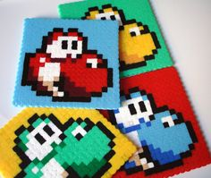 Yoshi Coaster Set 4 Pop Art Mario Coaster Set by BeadxBead on Etsy, €13.00