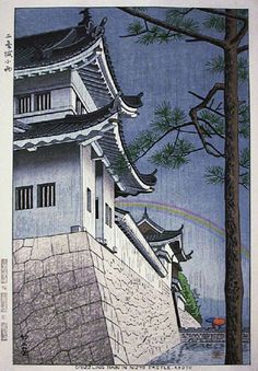 Drizzling Rain in Nigyo Castle  by Takeji Asano, 1953  (published by Unsodo)