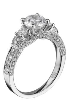 14K White Gold Tiara 3 Stone Round Brilliant Diamond Engagement Ring | www.goldcasters.com