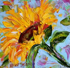 Original oil painting Sunflower by Karen's Fine Art – Gallery Represented Modern Impressionism in oils impasto canvas painting on gallery wrapped