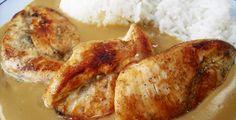 Kuřecí prsa nařežeme na stejné plátky (3 prsa = 6 plátků). Takto připravené plátky kuřecího masa osolíme, opepříme a lehce potřeme hořčicí a na... French Toast, Meat, Chicken, Breakfast, Buffalo Chicken, Morning Breakfast, Cubs