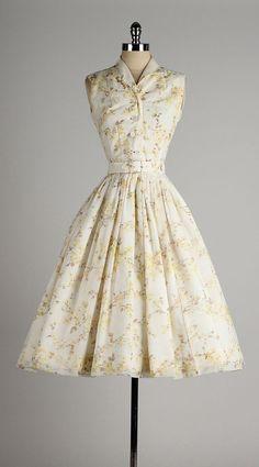 R E S V D Vintage 1950s Dress JOAN BARRIE Button Front Sleeveless Chiffon Yellow Flower Print 4498