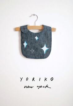 stars bib  sparkle  navy linen by yorikoNewYork on Etsy