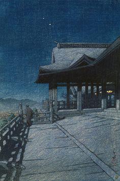 Kawase Hasui Collection of Scenic Views of Japan II, Kansai Edition: Kiyomizu Temple in Kyoto, woodblock print, Japanese Artwork, Japanese Painting, Japanese Prints, Kiyomizu Temple, Japanese Woodcut, Mary Cassatt, Art Asiatique, Japanese Landscape, Zen Gardens