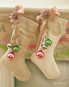 Christmas stockings...neutral with colorful accents