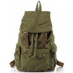 Durable Leather Green Canvas Backpack with Interior Zipper Pockets... ❤ liked on Polyvore featuring bags, backpacks, backpack, canvas backpack, leather knapsack, travel backpack, canvas leather rucksack and green canvas backpack