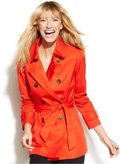$64, Red Trenchcoat: INC International Concepts Double Breasted Belted Trench Coat. Sold by Macy's. Click for more info: http://lookastic.com/women/shop_items/188333/redirect