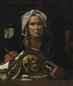 Pietro Bellotti VOLCIANO 1625 - 1700 GARGNANO AN OLD PHILOSOPHER AT HER DESK, WITH A VANITAS SKULL AND AN HOURGLASS