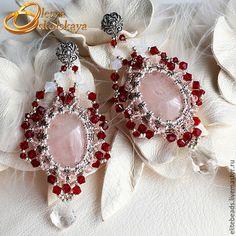 Серьги ручной работы. Ярмарка Мастеров - ручная работа. Купить №146 - Серьги с розовым кварцем в серебре LANA. Handmade.