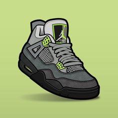 "SLOFAR on Instagram: ""Jordan 4 Neon #sneakerart #sneakerartist #sneakerartwork #sneakerposters #sneakervector #jordan4 #jordan4s #jordan4neon #vector #vectorart"" Jordan Shoes Wallpaper, Sneakers Wallpaper, Iphone Wallpaper Unicorn, Hypebeast Iphone Wallpaper, Drake Wallpapers, Jordan Vi, Nike Shoes, Sneakers Nike, Dope Cartoons"