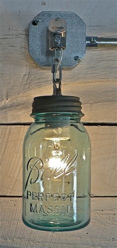 Ball Jar Light via Funky Junk Interiors Modern Lighting: The Mason Jar, 10 Ways Mason Jar Sconce, Mason Jar Lighting, Mason Jars, Canning Jars, Funky Junk Interiors, Ideias Diy, Jar Lights, Mason Jar Crafts, Rustic Decor