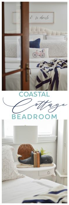 Simple coastal cottage style decorating ideas. Summer bedroom makeover — Linen, white, navy & aqua color scheme. Vintage, thrifted and DIY elements, plus shopping my home, made this an almost no-spend room refresh! Craftsman House Plans, Country House Plans, Modern House Plans, Small House Plans, House Floor Plans, Fancy Bedroom, Summer Bedroom, Bedroom Decor, Bedroom Vintage