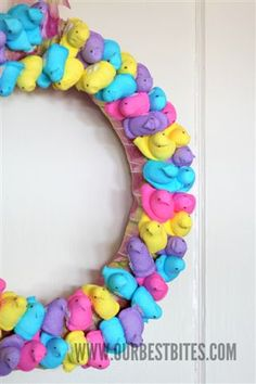 wreath. of. peeps. because nothing says spring and easter like sugar-encrusted multi color marshmallow bunnies. (this is adorable, actually)