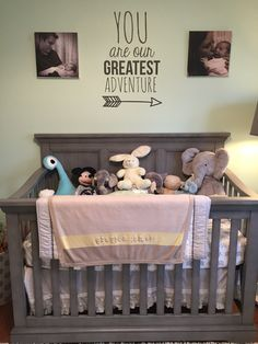 Gender neutral nursery in mint, grey & yellow. You are our greatest adventure