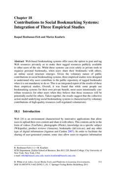 Contributions to Social Bookmarking Systems: Integration of Three Empirical Studies By add.riddsnetwork.in
