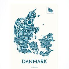 Kortkartellet | Danmark med byer petroleum | plakat | Køb den her