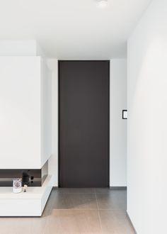 Black interior door from floor to ceiling by Black Interior Doors, Black Doors, Cloud 9, Aluminium Doors, Room Doors, Steel Doors, Furniture Plans, Decoration, Tall Cabinet Storage