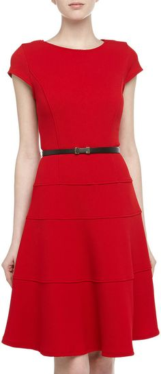 Sharagano Tiered Belted Fit-And-Flare Dress, Red on shopstyle.com $89.00