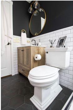 Black and white bathroom Black White Bathrooms, White Bathroom Decor, Bathroom Interior Design, Black And White Bathroom Ideas, Interior Doors, Bedroom Decor, Cheap Bathrooms, Upstairs Bathrooms, Basement Bathroom Ideas